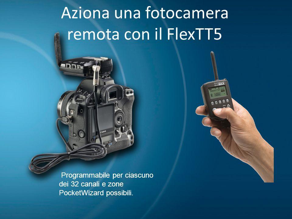 Aziona una fotocamera remota con il FlexTT5 Programmabile per ciascuno dei 32 canali e zone PocketWizard possibili.