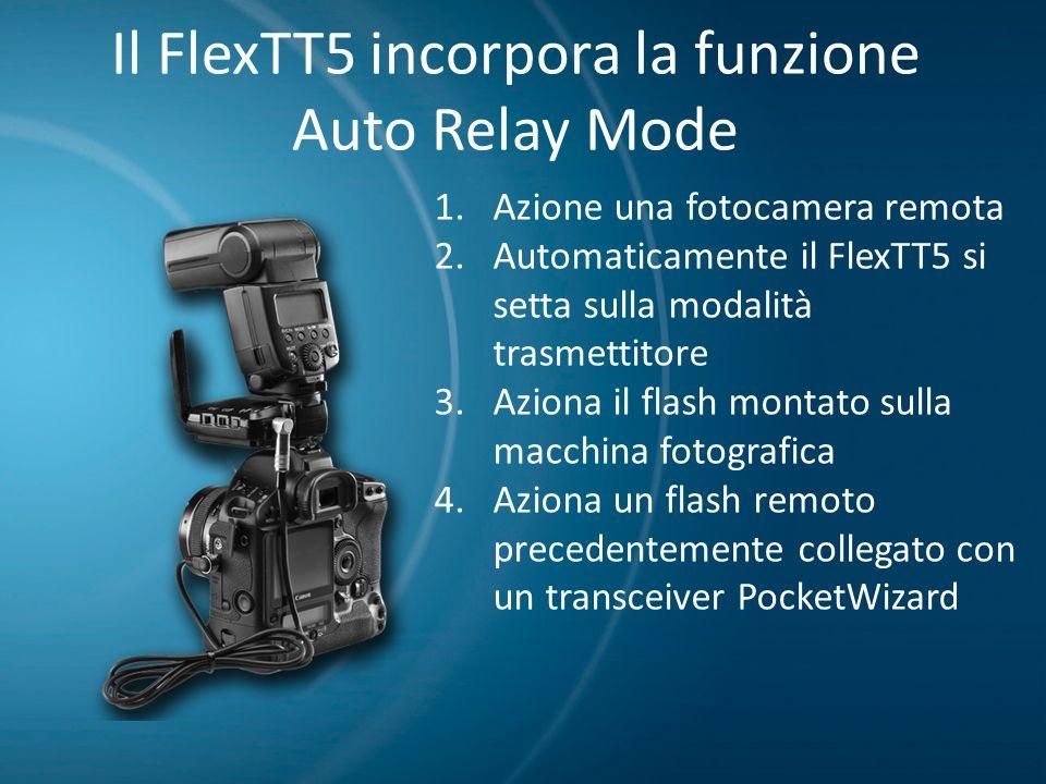 Il FlexTT5 incorpora la funzione Auto Relay Mode 1.Azione una fotocamera remota 2.Automaticamente il FlexTT5 si setta sulla modalità trasmettitore 3.A