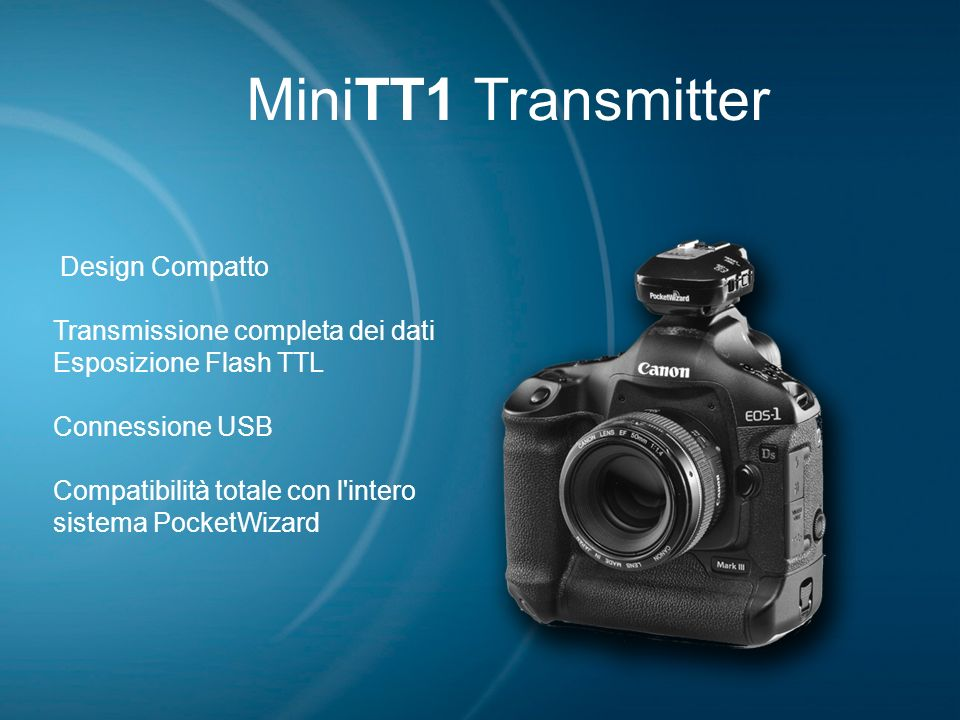 MiniTT1 Transmitter Design Compatto Transmissione completa dei dati Esposizione Flash TTL Connessione USB Compatibilità totale con l'intero sistema Po