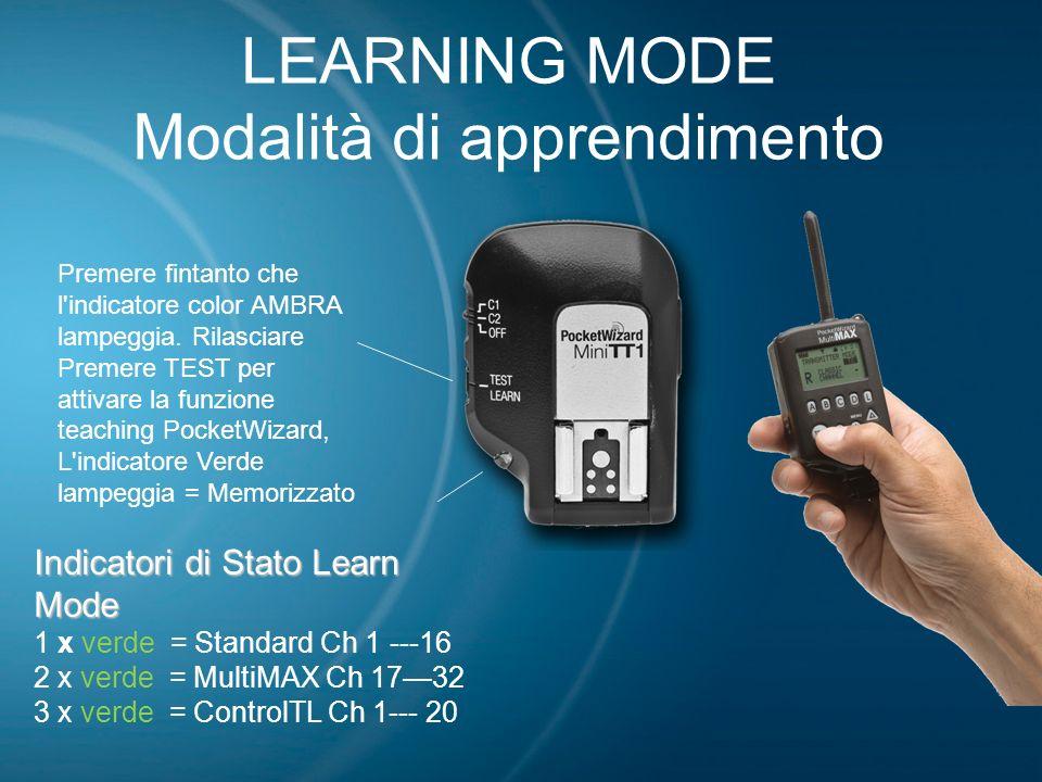 LEARNING MODE Modalità di apprendimento Indicatori di Stato Learn Mode 1 x verde = Standard Ch 1 ---16 2 x verde = MultiMAX Ch 1732 3 x verde = Contro