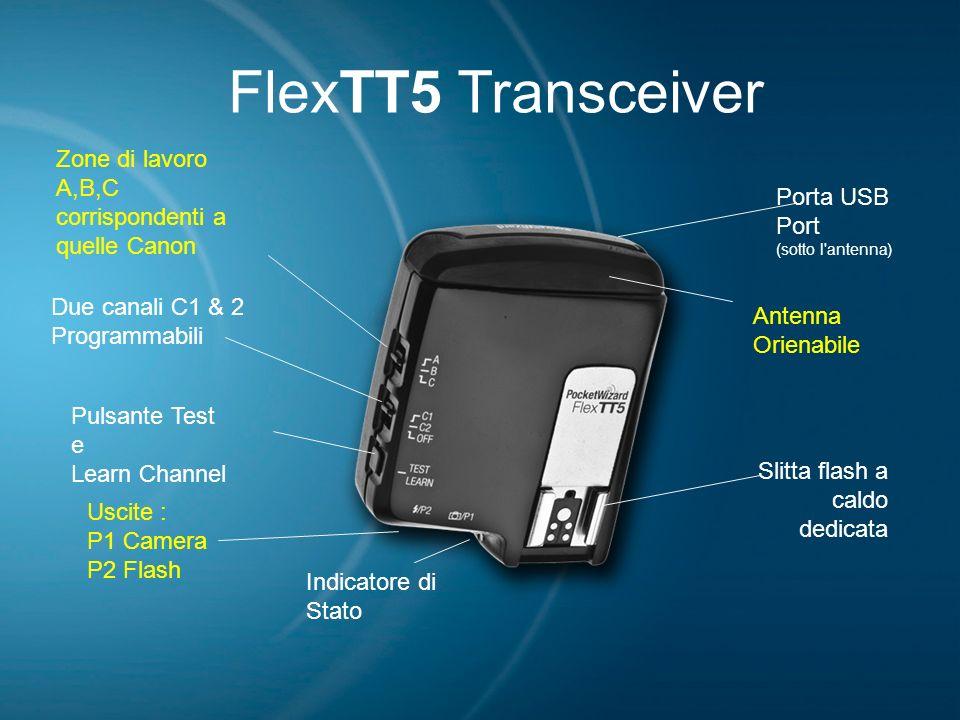 FlexTT5 Transceiver Due canali C1 & 2 Programmabili Zone di lavoro A,B,C corrispondenti a quelle Canon Uscite : P1 Camera P2 Flash Indicatore di Stato