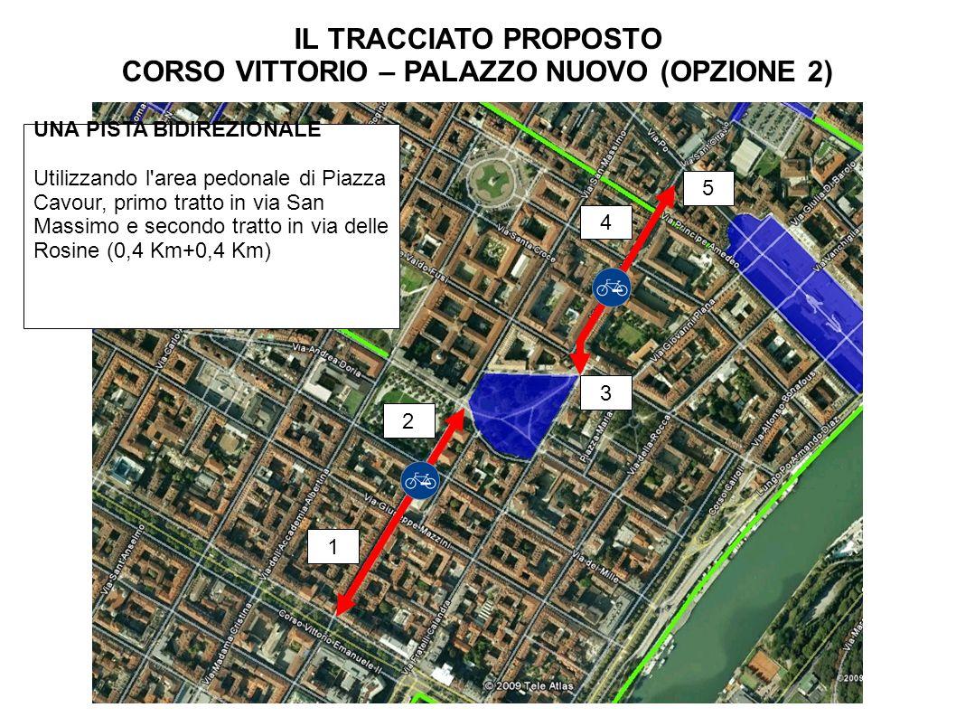IL TRACCIATO PROPOSTO CORSO VITTORIO – PALAZZO NUOVO (OPZIONE 2) UNA PISTA BIDIREZIONALE Utilizzando l area pedonale di Piazza Cavour, primo tratto in via San Massimo e secondo tratto in via delle Rosine (0,4 Km+0,4 Km) 1 2 3 4 5