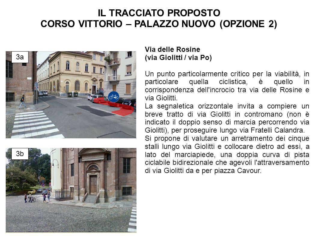 Via delle Rosine (via Giolitti / via Po) Un punto particolarmente critico per la viabilità, in particolare quella ciclistica, è quello in corrispondenza dell incrocio tra via delle Rosine e via Giolitti.