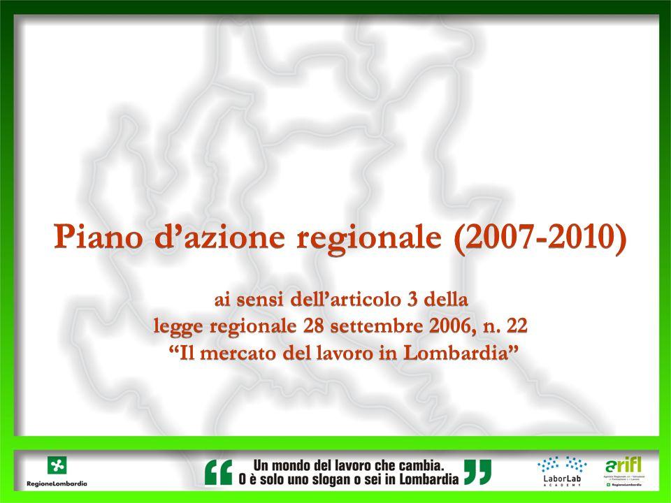 Piano dazione regionale (2007-2010) ai sensi dellarticolo 3 della legge regionale 28 settembre 2006, n. 22 Il mercato del lavoro in Lombardia Piano da