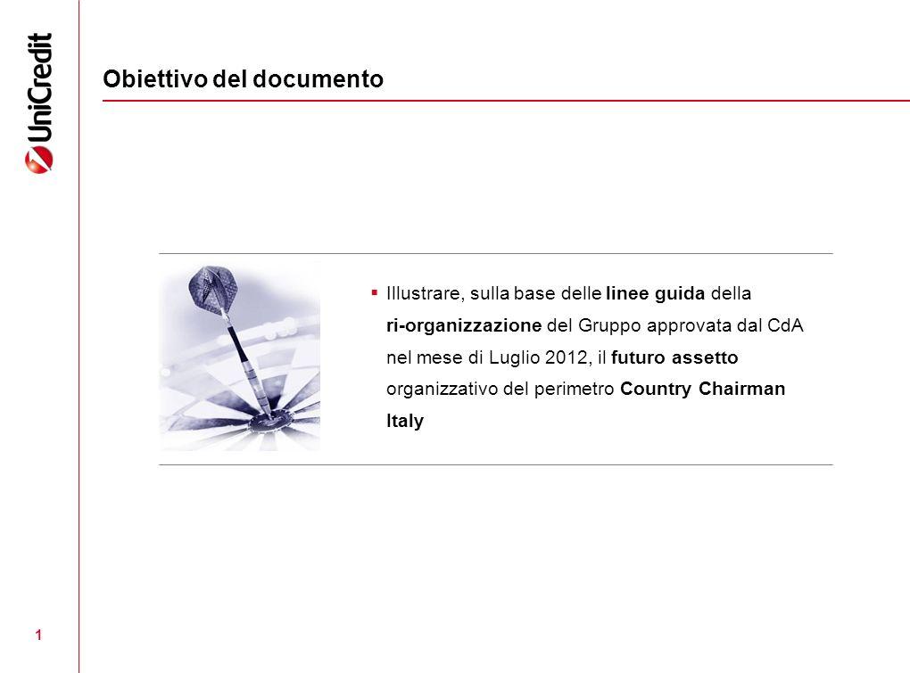 1 Obiettivo del documento Illustrare, sulla base delle linee guida della ri-organizzazione del Gruppo approvata dal CdA nel mese di Luglio 2012, il futuro assetto organizzativo del perimetro Country Chairman Italy