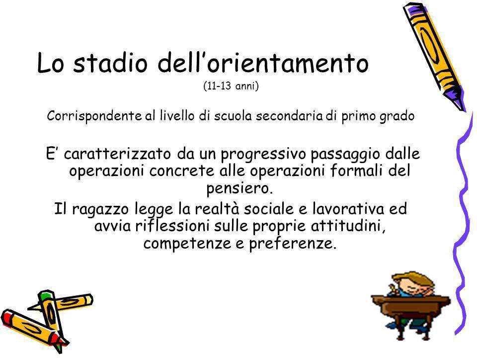 Lo stadio dellorientamento (11-13 anni) Corrispondente al livello di scuola secondaria di primo grado E caratterizzato da un progressivo passaggio dal