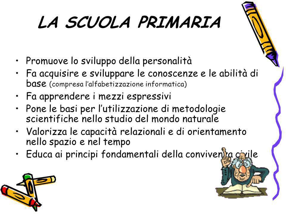 LA SCUOLA PRIMARIA Promuove lo sviluppo della personalità Fa acquisire e sviluppare le conoscenze e le abilità di base (compresa lalfabetizzazione inf