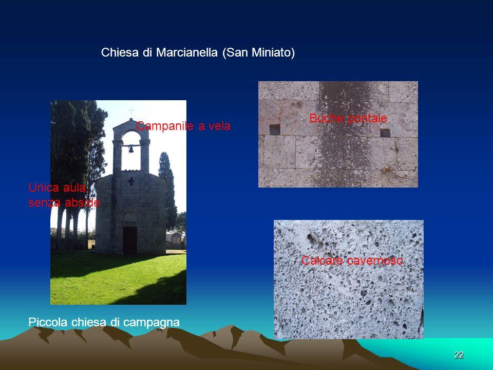 21 Calcare e quarzite Chiesa San Giorgio a Bibbiano XI-XII Secolo Chiesa non orientata ( Abside orientata a Nord) Lunetta San Giorgio combatte con il