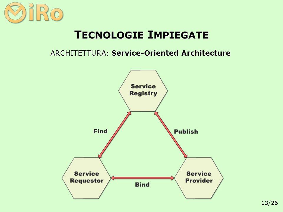 13/26 ARCHITETTURA: Service-Oriented Architecture T ECNOLOGIE I MPIEGATE