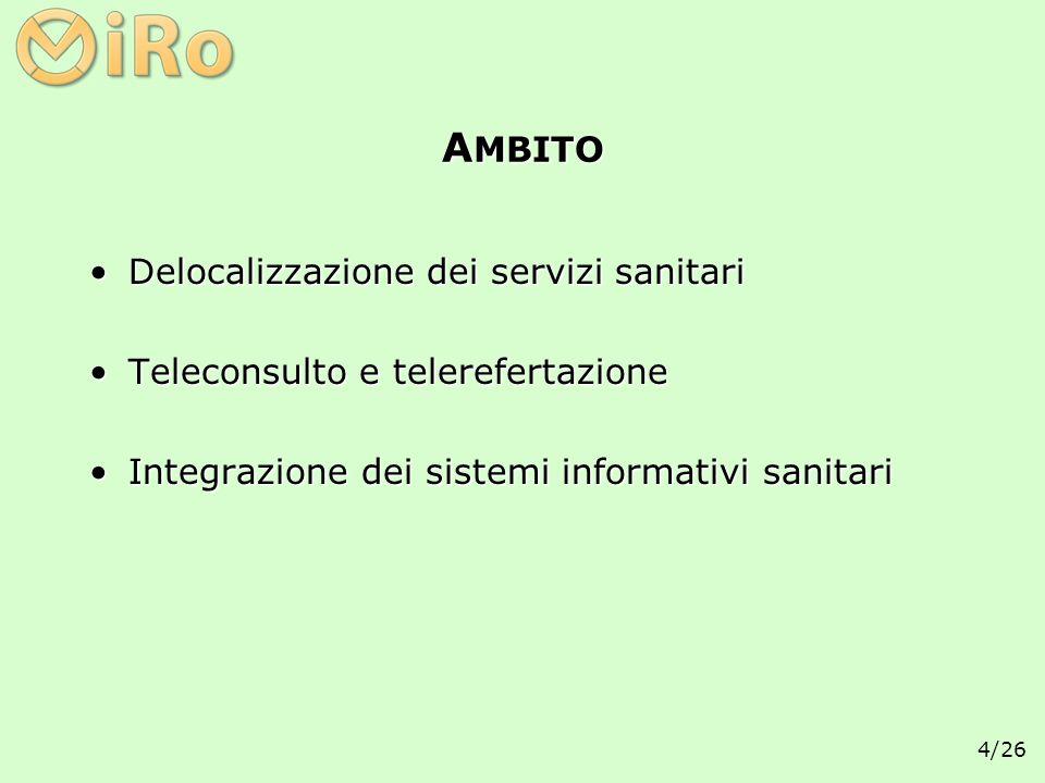 4/26 A MBITO Delocalizzazione dei servizi sanitariDelocalizzazione dei servizi sanitari Teleconsulto e telerefertazioneTeleconsulto e telerefertazione