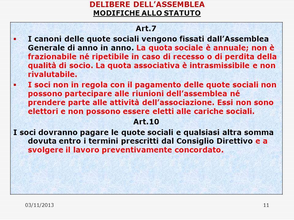 03/11/201311 Art.7 I canoni delle quote sociali vengono fissati dallAssemblea Generale di anno in anno.