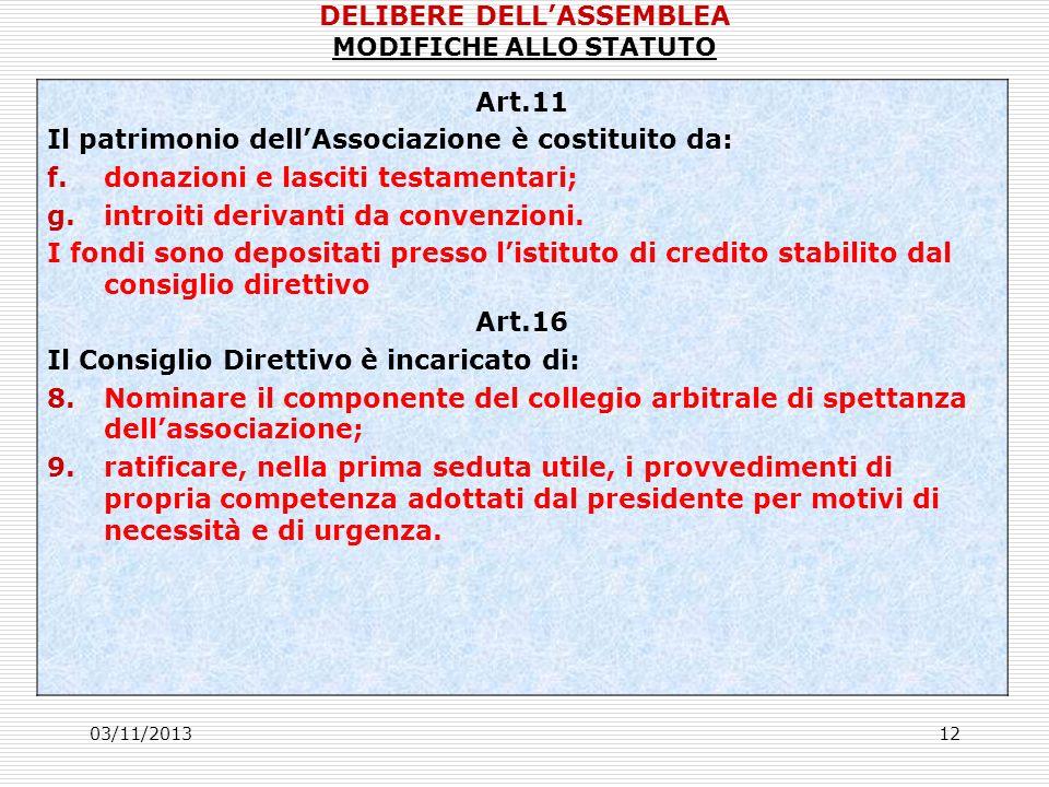 03/11/201312 Art.11 Il patrimonio dellAssociazione è costituito da: f.donazioni e lasciti testamentari; g.introiti derivanti da convenzioni.