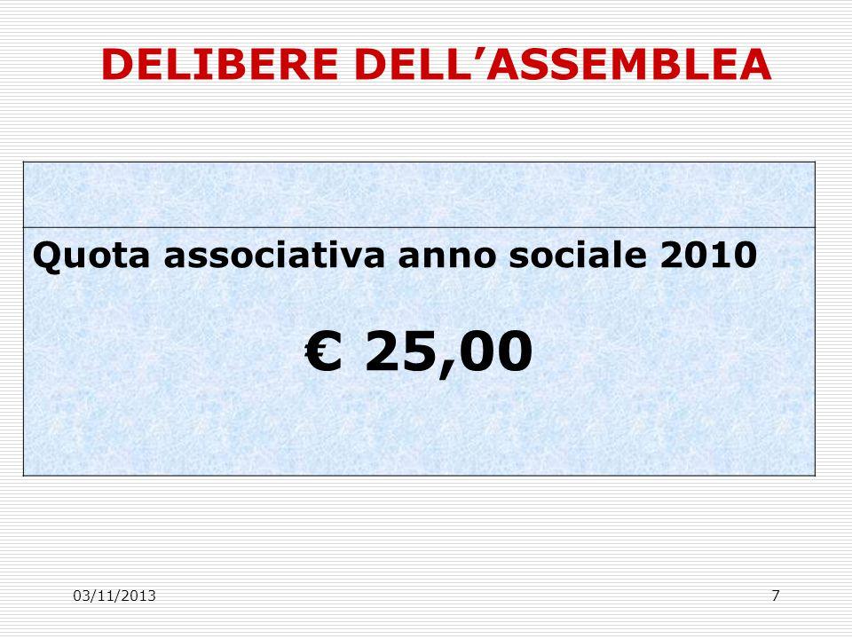 03/11/20137 DELIBERE DELLASSEMBLEA Quota associativa anno sociale 2010 25,00