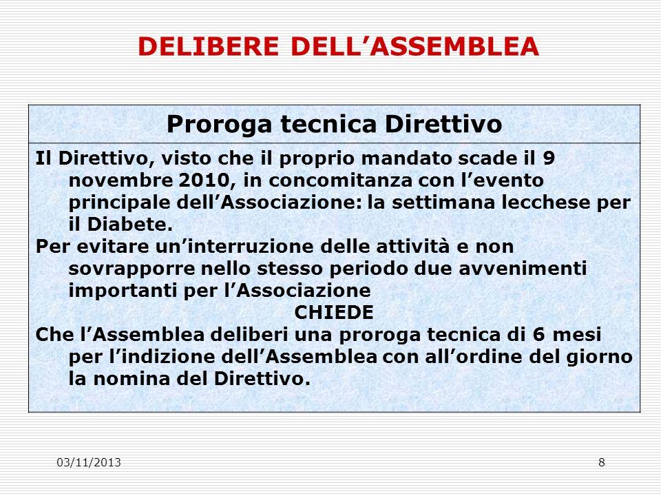 03/11/20138 Proroga tecnica Direttivo Il Direttivo, visto che il proprio mandato scade il 9 novembre 2010, in concomitanza con levento principale dellAssociazione: la settimana lecchese per il Diabete.