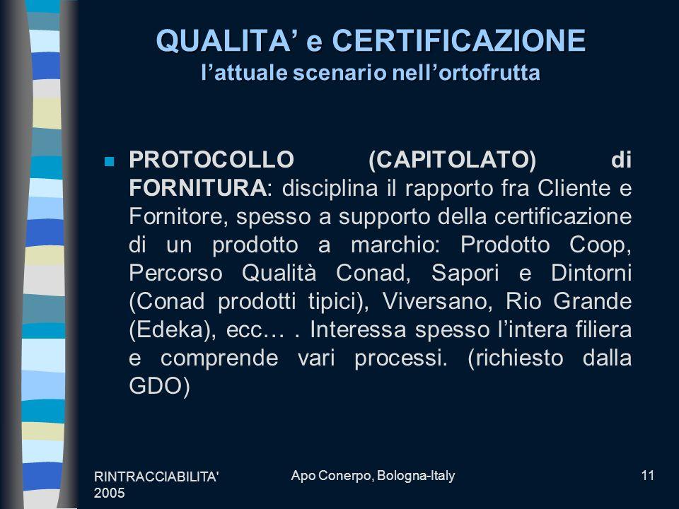 RINTRACCIABILITA' 2005 Apo Conerpo, Bologna-Italy11 QUALITA e CERTIFICAZIONE lattuale scenario nellortofrutta n PROTOCOLLO (CAPITOLATO) di FORNITURA: