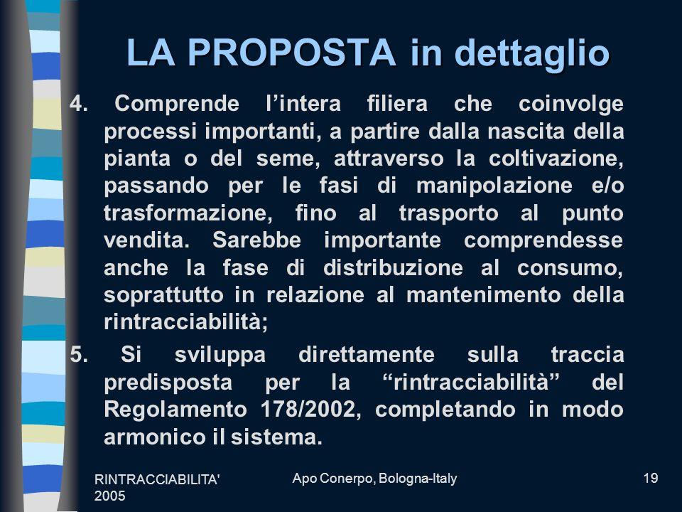 RINTRACCIABILITA' 2005 Apo Conerpo, Bologna-Italy19 LA PROPOSTA in dettaglio 4. Comprende lintera filiera che coinvolge processi importanti, a partire