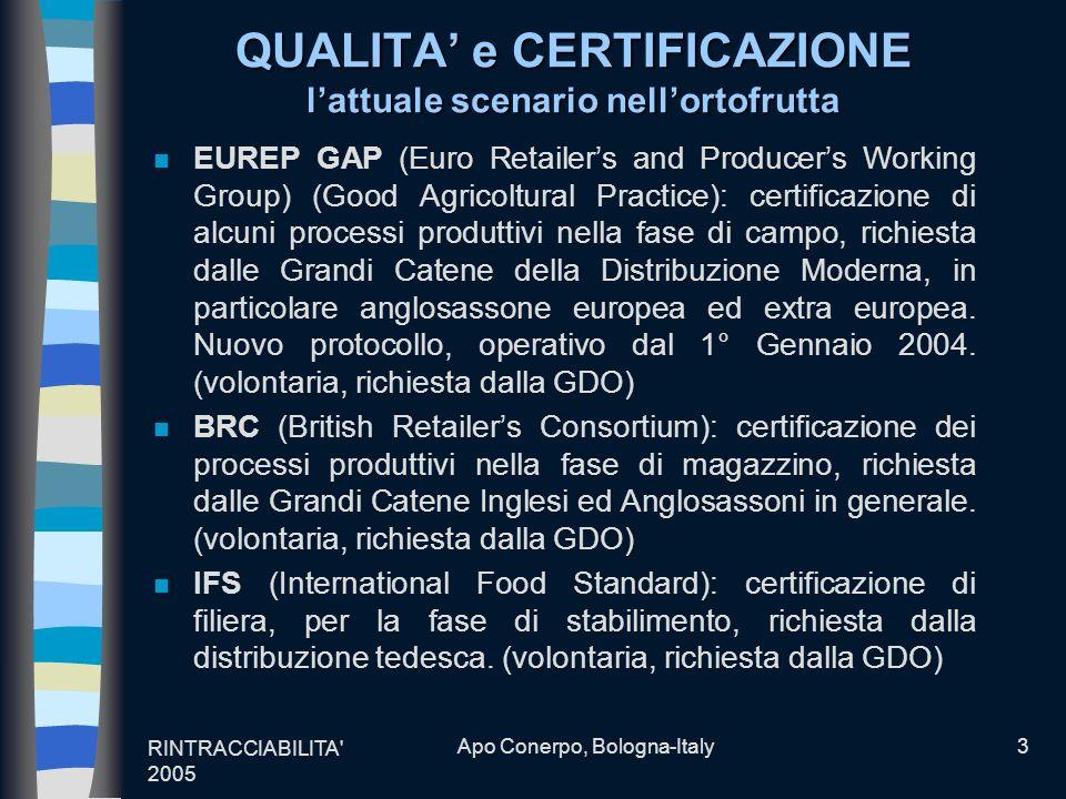 RINTRACCIABILITA' 2005 Apo Conerpo, Bologna-Italy3 QUALITA e CERTIFICAZIONE lattuale scenario nellortofrutta n EUREP GAP (Euro Retailers and Producers