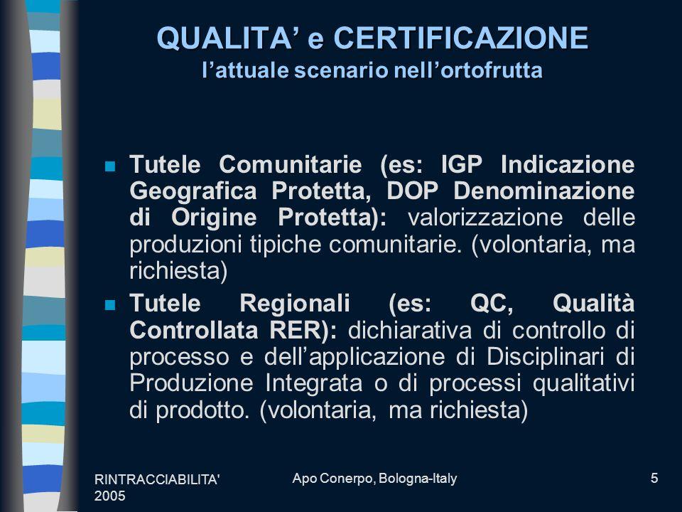RINTRACCIABILITA' 2005 Apo Conerpo, Bologna-Italy5 QUALITA e CERTIFICAZIONE lattuale scenario nellortofrutta n Tutele Comunitarie (es: IGP Indicazione