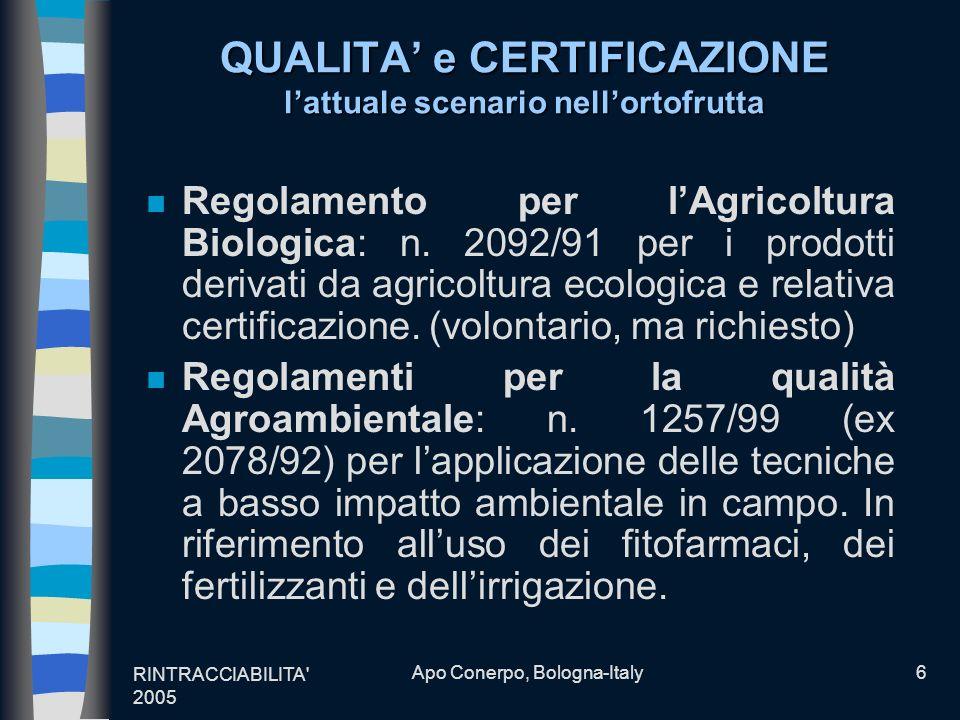 RINTRACCIABILITA' 2005 Apo Conerpo, Bologna-Italy6 QUALITA e CERTIFICAZIONE lattuale scenario nellortofrutta n Regolamento per lAgricoltura Biologica: