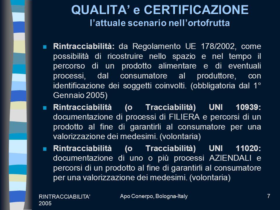 RINTRACCIABILITA' 2005 Apo Conerpo, Bologna-Italy7 QUALITA e CERTIFICAZIONE lattuale scenario nellortofrutta n Rintracciabilità: da Regolamento UE 178