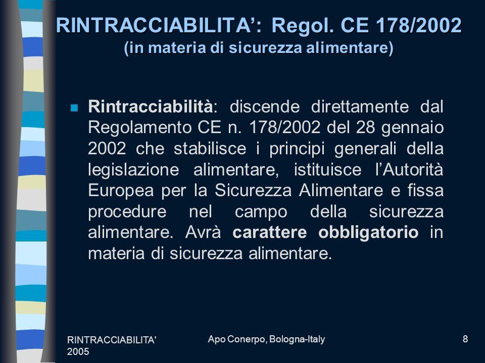 RINTRACCIABILITA' 2005 Apo Conerpo, Bologna-Italy8 RINTRACCIABILITA: Regol. CE 178/2002 (in materia di sicurezza alimentare) n Rintracciabilità: disce