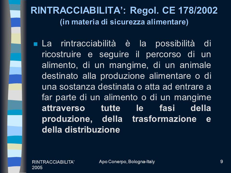 RINTRACCIABILITA' 2005 Apo Conerpo, Bologna-Italy9 RINTRACCIABILITA: Regol. CE 178/2002 (in materia di sicurezza alimentare) n La rintracciabilità è l