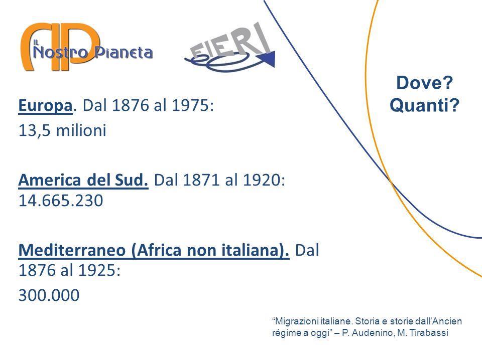 Europa. Dal 1876 al 1975: 13,5 milioni America del Sud. Dal 1871 al 1920: 14.665.230 Mediterraneo (Africa non italiana). Dal 1876 al 1925: 300.000 Dov
