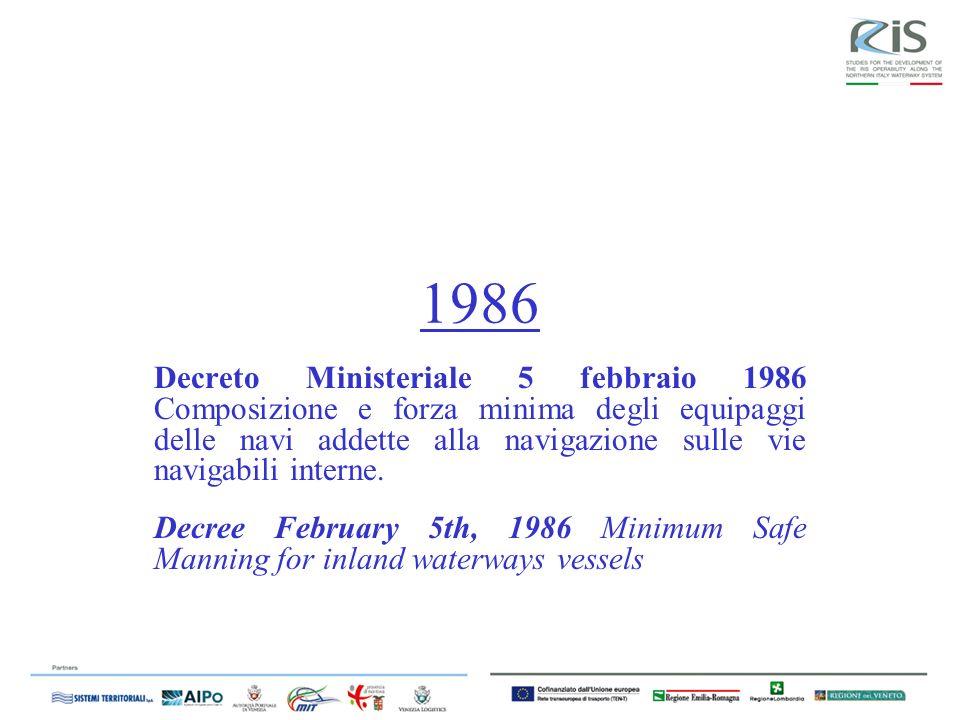 1986 Decreto Ministeriale 5 febbraio 1986 Composizione e forza minima degli equipaggi delle navi addette alla navigazione sulle vie navigabili interne.