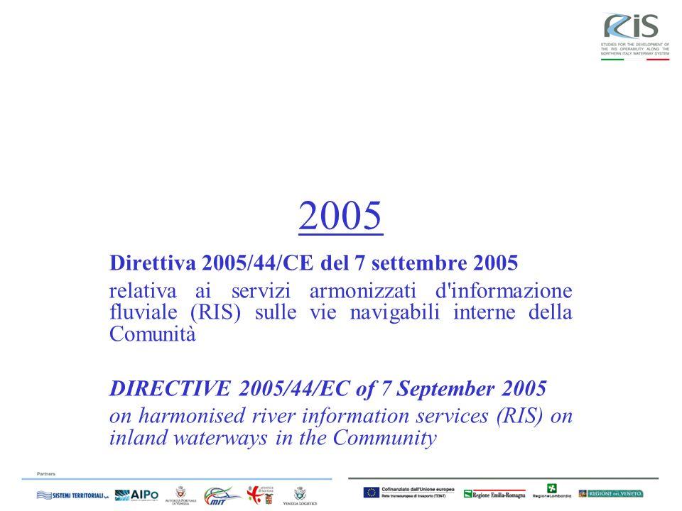 2005 Direttiva 2005/44/CE del 7 settembre 2005 relativa ai servizi armonizzati d informazione fluviale (RIS) sulle vie navigabili interne della Comunità DIRECTIVE 2005/44/EC of 7 September 2005 on harmonised river information services (RIS) on inland waterways in the Community
