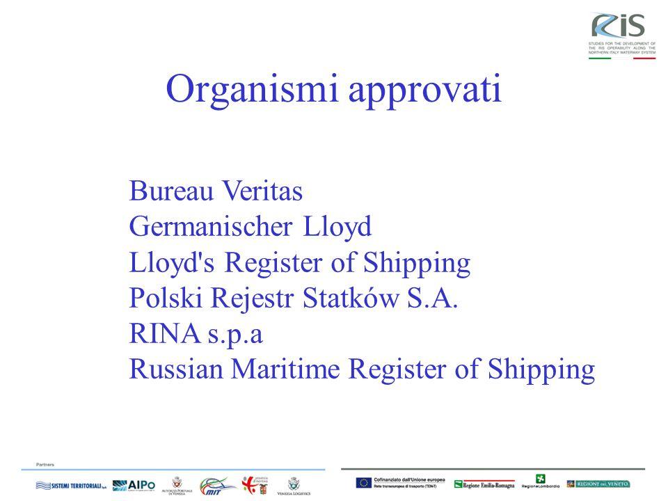 Organismi approvati Bureau Veritas Germanischer Lloyd Lloyd s Register of Shipping Polski Rejestr Statków S.A.