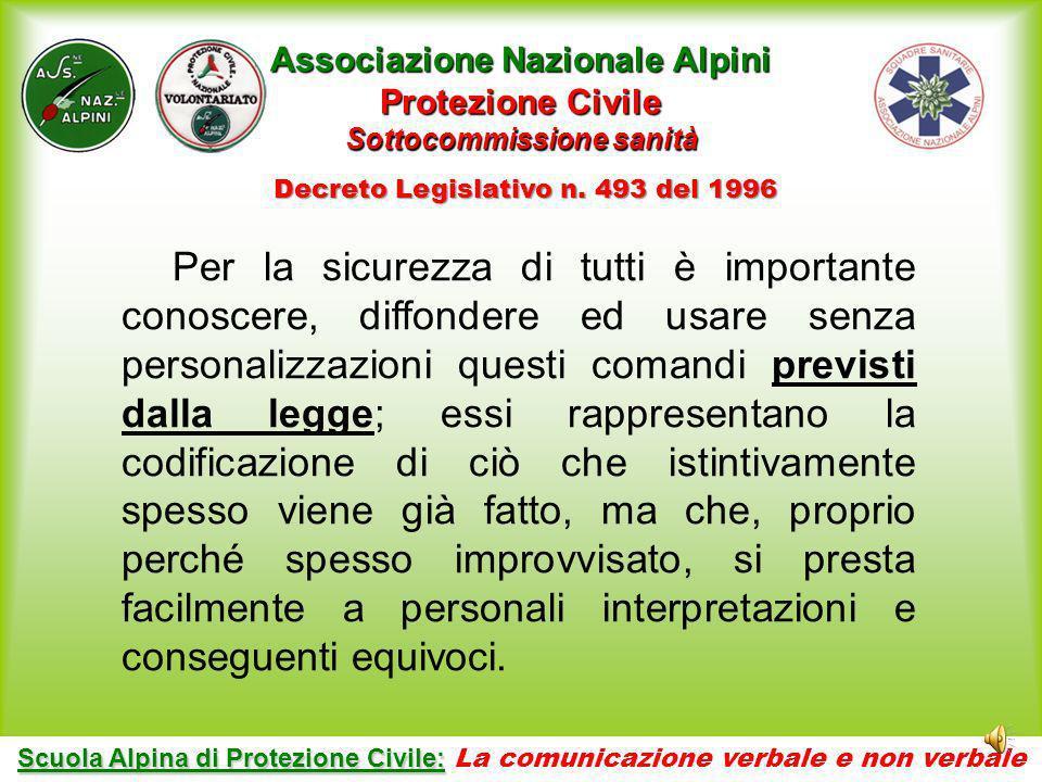 Collana: La formazione specifica in protezione civile Argomento: La comunicazione verbale e non verbale Secondo quanto previsto dal D.L. 493 del 1996