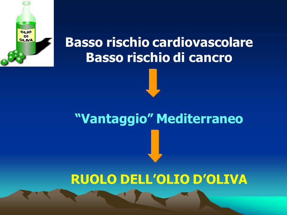 Basso rischio cardiovascolare Basso rischio di cancro Vantaggio Mediterraneo RUOLO DELLOLIO DOLIVA