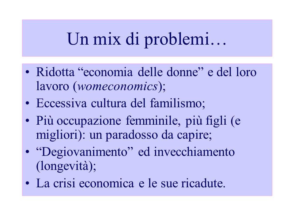 Un mix di problemi… Ridotta economia delle donne e del loro lavoro (womeconomics); Eccessiva cultura del familismo; Più occupazione femminile, più fig