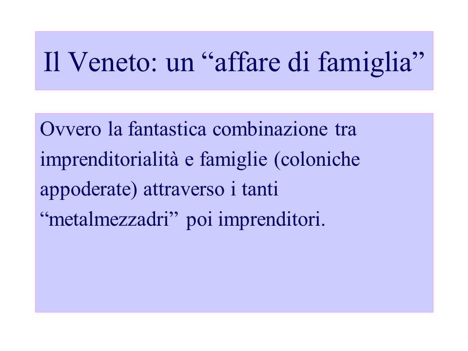 Il Veneto: un affare di famiglia Ovvero la fantastica combinazione tra imprenditorialità e famiglie (coloniche appoderate) attraverso i tanti metalmez