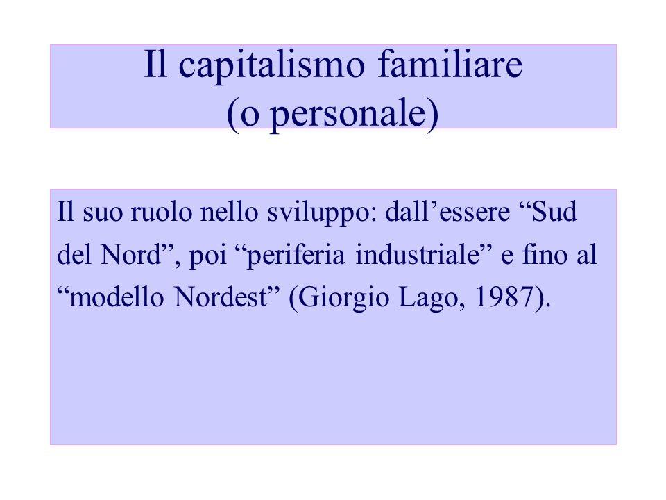 Il capitalismo familiare (o personale) Il suo ruolo nello sviluppo: dallessere Sud del Nord, poi periferia industriale e fino al modello Nordest (Gior