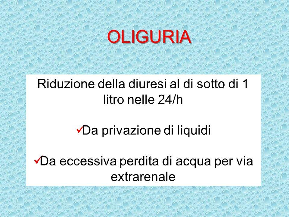 OLIGURIA Riduzione della diuresi al di sotto di 1 litro nelle 24/h Da privazione di liquidi Da eccessiva perdita di acqua per via extrarenale