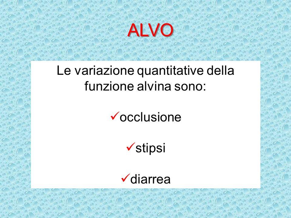 ALVO Le variazione quantitative della funzione alvina sono: occlusione stipsi diarrea