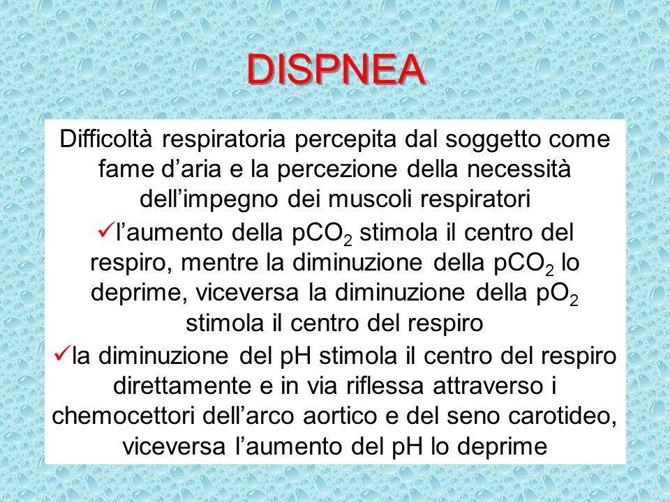 DISPNEA Difficoltà respiratoria percepita dal soggetto come fame daria e la percezione della necessità dellimpegno dei muscoli respiratori laumento de