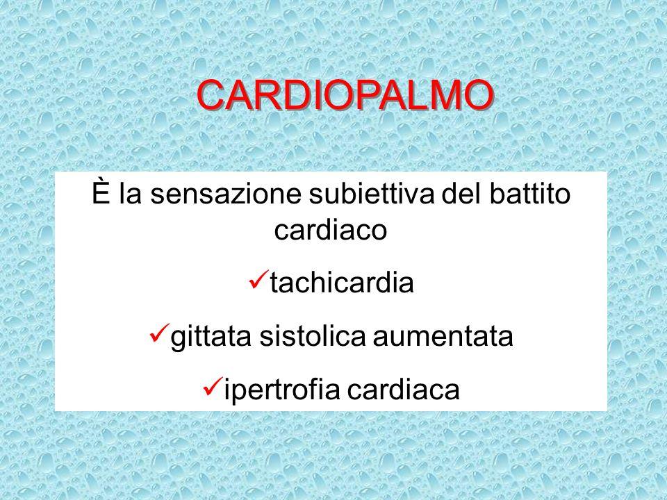CARDIOPALMO È la sensazione subiettiva del battito cardiaco tachicardia gittata sistolica aumentata ipertrofia cardiaca