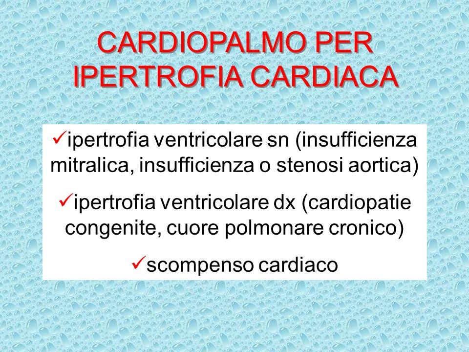 CARDIOPALMO PER IPERTROFIA CARDIACA ipertrofia ventricolare sn (insufficienza mitralica, insufficienza o stenosi aortica) ipertrofia ventricolare dx (