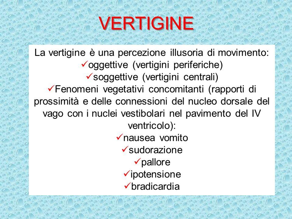 VERTIGINE La vertigine è una percezione illusoria di movimento: oggettive (vertigini periferiche) soggettive (vertigini centrali) Fenomeni vegetativi