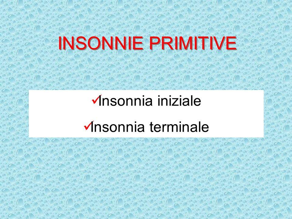 INSONNIE PRIMITIVE Insonnia iniziale Insonnia terminale