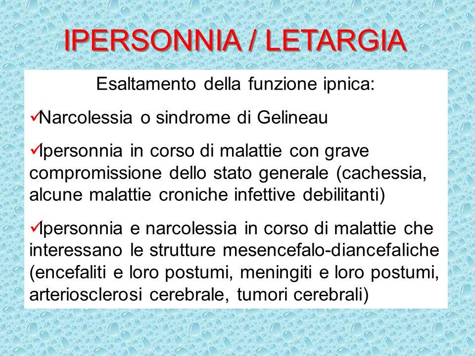 IPERSONNIA / LETARGIA Esaltamento della funzione ipnica: Narcolessia o sindrome di Gelineau Ipersonnia in corso di malattie con grave compromissione d