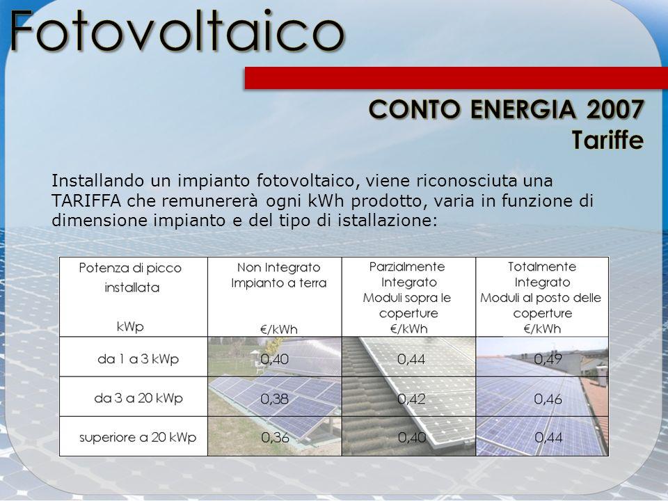 Installando un impianto fotovoltaico, viene riconosciuta una TARIFFA che remunererà ogni kWh prodotto, varia in funzione di dimensione impianto e del