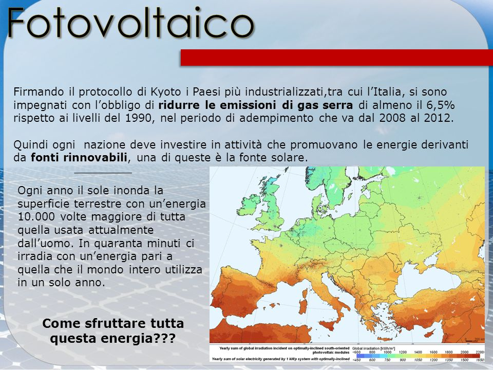 Firmando il protocollo di Kyoto i Paesi più industrializzati,tra cui lItalia, si sono impegnati con lobbligo di ridurre le emissioni di gas serra di a