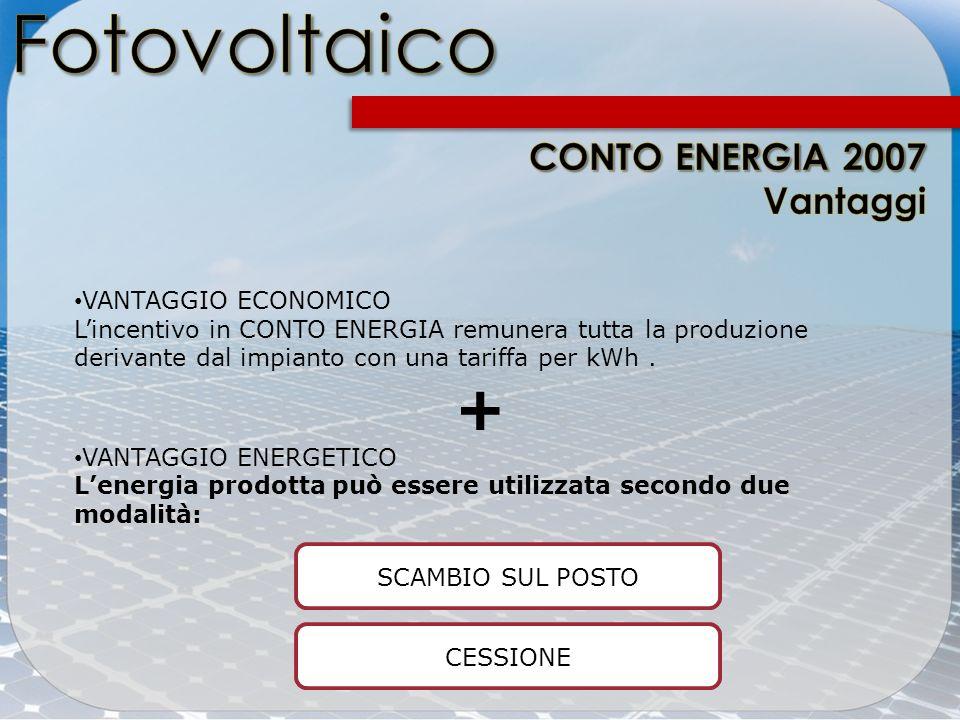VANTAGGIO ECONOMICO Lincentivo in CONTO ENERGIA remunera tutta la produzione derivante dal impianto con una tariffa per kWh. + VANTAGGIO ENERGETICO Le
