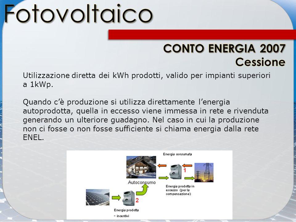 Utilizzazione diretta dei kWh prodotti, valido per impianti superiori a 1kWp. Quando cè produzione si utilizza direttamente lenergia autoprodotta, que