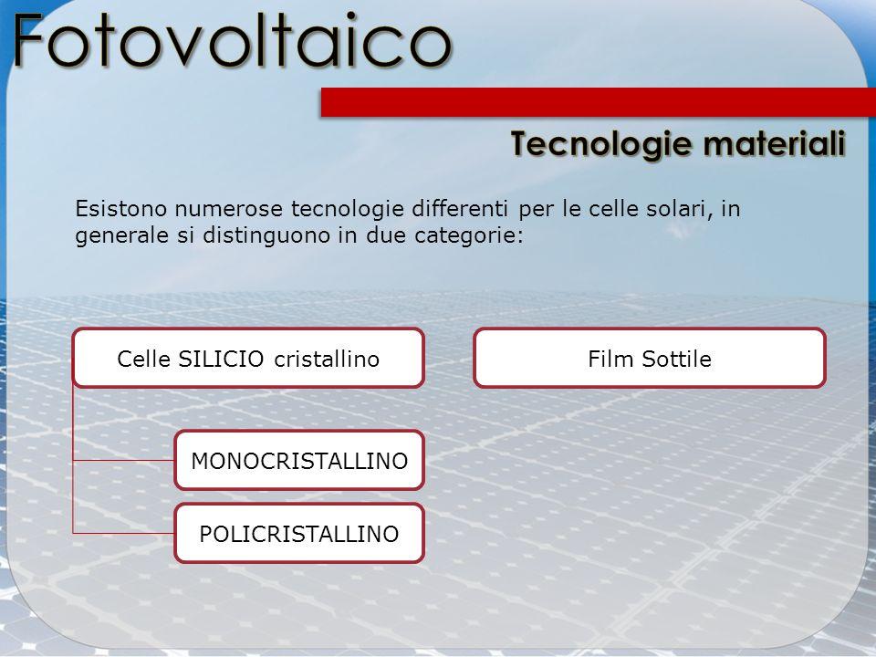 Esistono numerose tecnologie differenti per le celle solari, in generale si distinguono in due categorie: Celle SILICIO cristallinoFilm Sottile MONOCR
