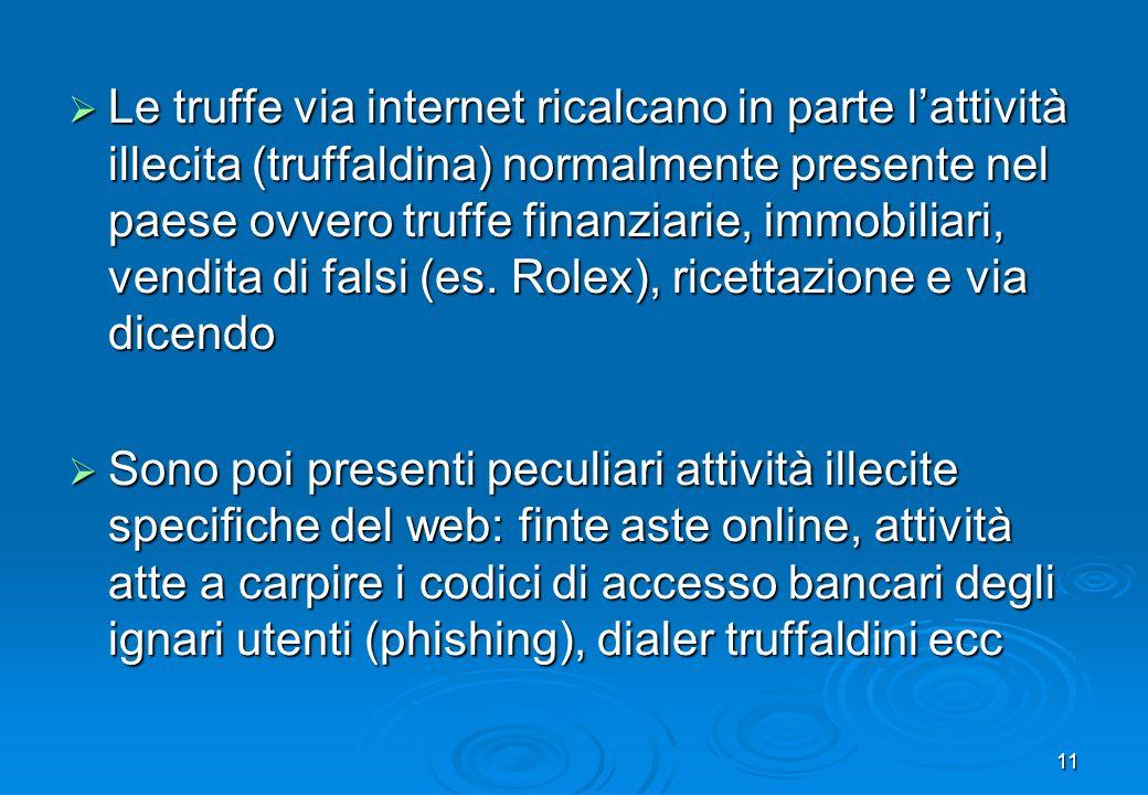 11 Le truffe via internet ricalcano in parte lattività illecita (truffaldina) normalmente presente nel paese ovvero truffe finanziarie, immobiliari, v