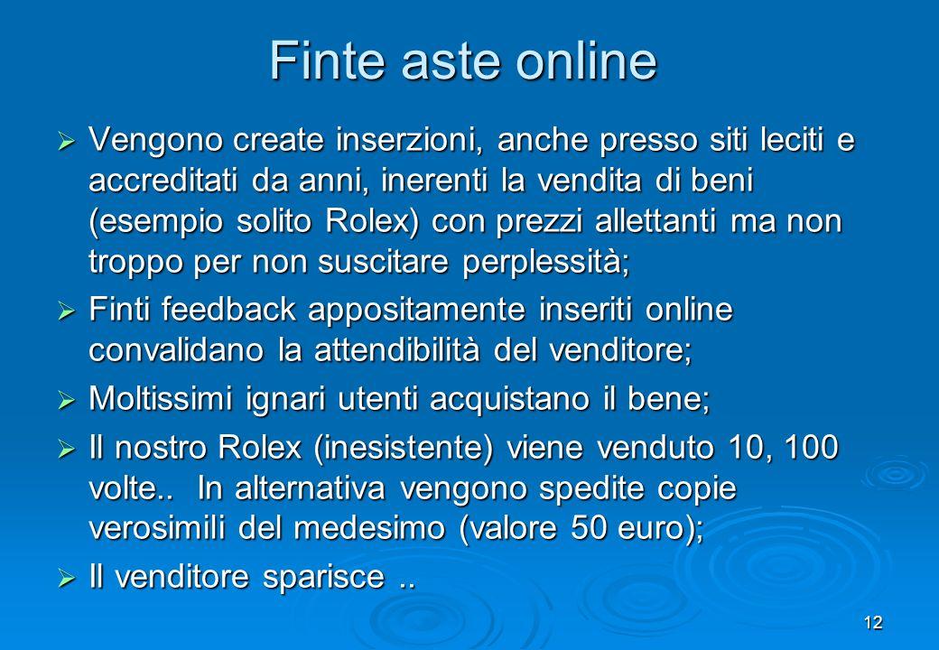 12 Finte aste online Vengono create inserzioni, anche presso siti leciti e accreditati da anni, inerenti la vendita di beni (esempio solito Rolex) con